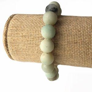 Boho Natural Matte Jade Gemstone Stretch Bracelet